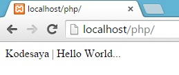 Membuat program pertama PHP - Tampilan hasil program pertama PHP